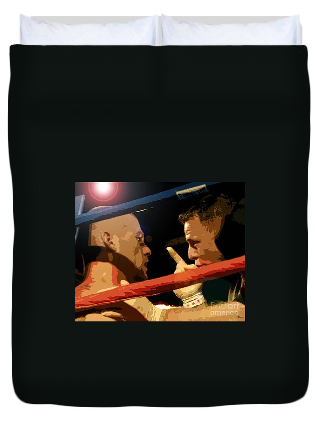 Art Duvet Cover featuring the painting Between Rounds by David Lee Thompson
