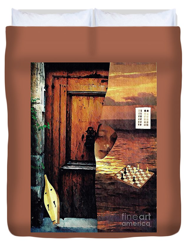 Music Duvet Cover featuring the mixed media Between by Sarah Loft