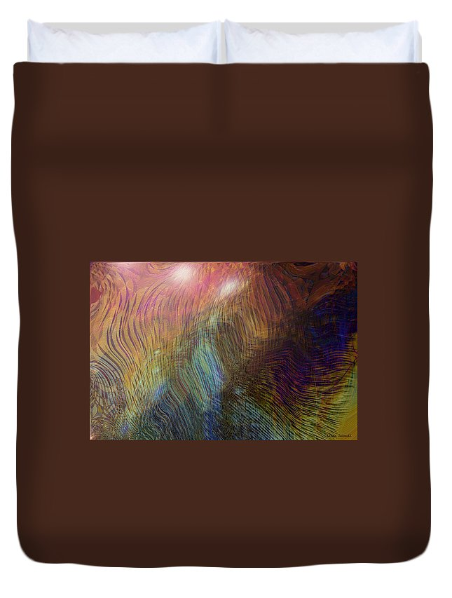 Abstract Art Duvet Cover featuring the digital art Between The Lines by Linda Sannuti