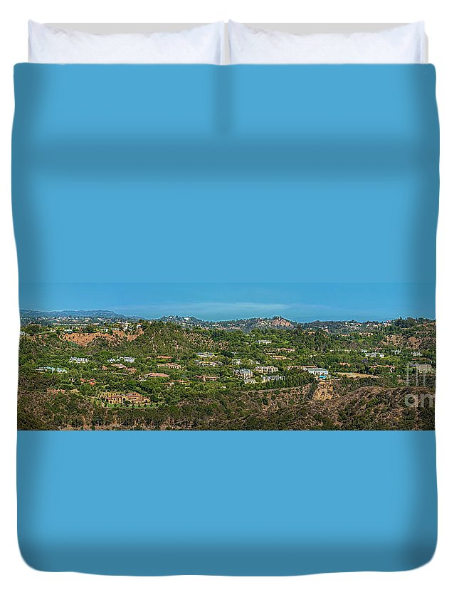 Beverly Park Duvet Cover featuring the photograph Beverly Park Beverly Hills Panorama by David Zanzinger