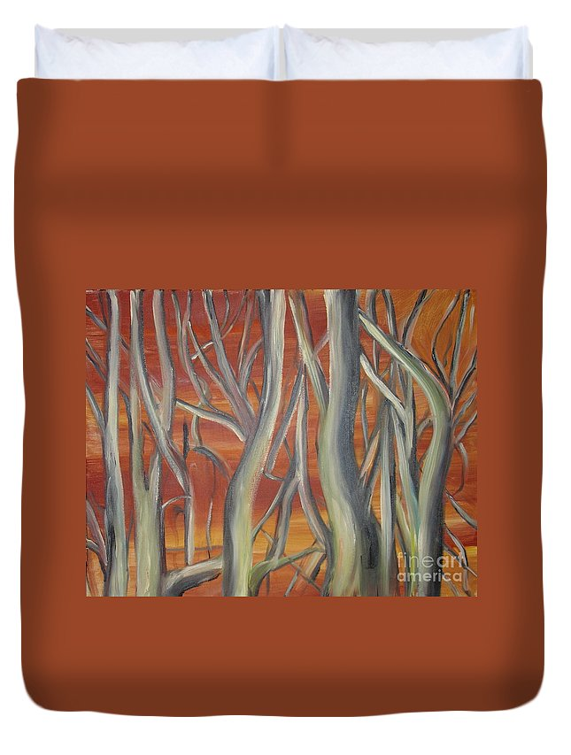 Trees Forest Original Painting Abstract Duvet Cover featuring the painting Beyond by Leila Atkinson