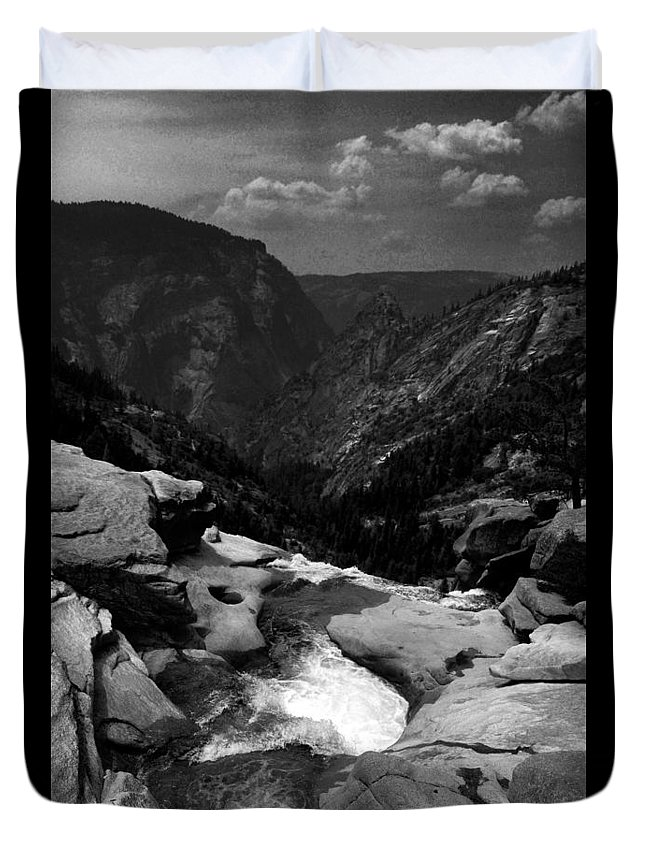 Waterfall Duvet Cover featuring the photograph Beyond The Falls by Elizabeth Palmer