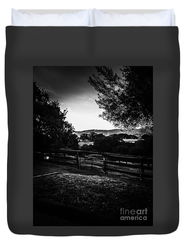 Beyond The Fence Duvet Cover featuring the photograph Beyond The Fence by Heather Joyce Morrill