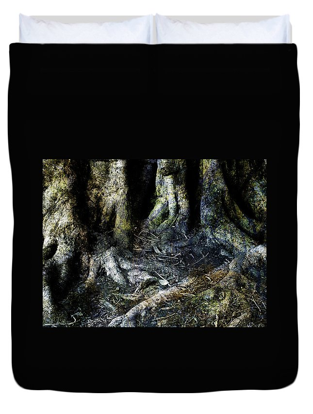 Tree Duvet Cover featuring the photograph Beyond The Forest Edge by Kelly Jade King