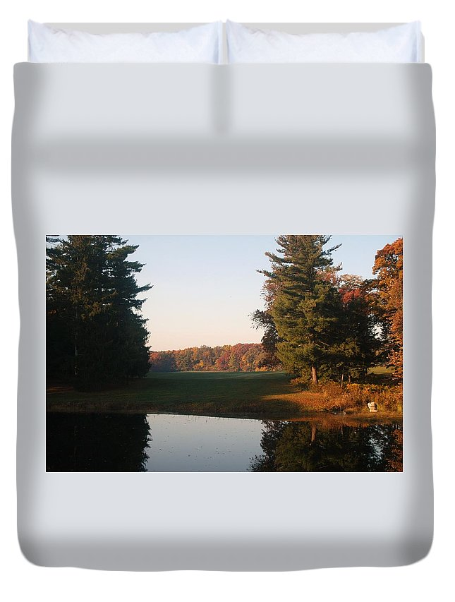 Landscape Duvet Cover featuring the photograph Beyond The Gardens by Kenneth Ballom