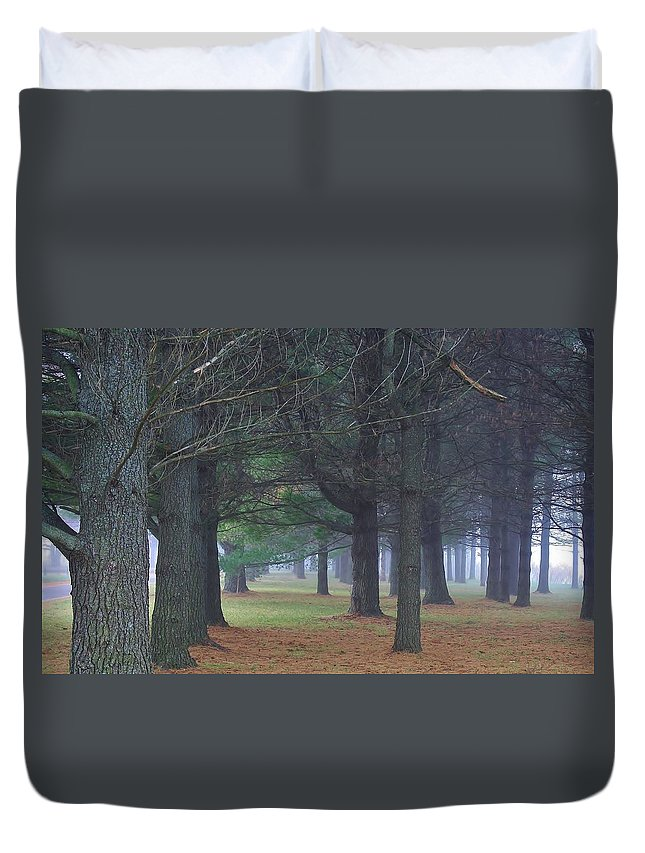 Woodland Duvet Cover featuring the photograph Beyond The Pines by Bruce Bley