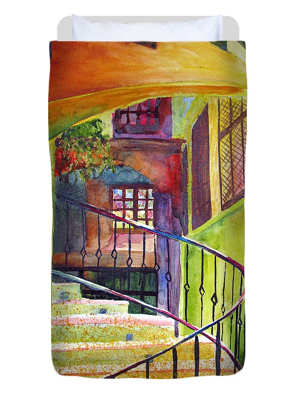 Architecture Duvet Cover featuring the painting Beyond The Steps by Karen Stark