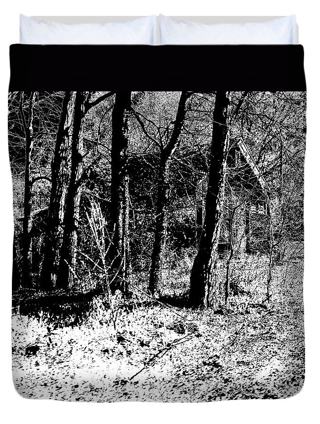 Outside Duvet Cover featuring the photograph Beyond The Trees by Charleen Treasures
