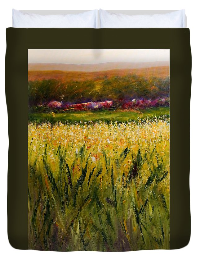 Landscape Duvet Cover featuring the painting Beyond The Valley by Shannon Grissom