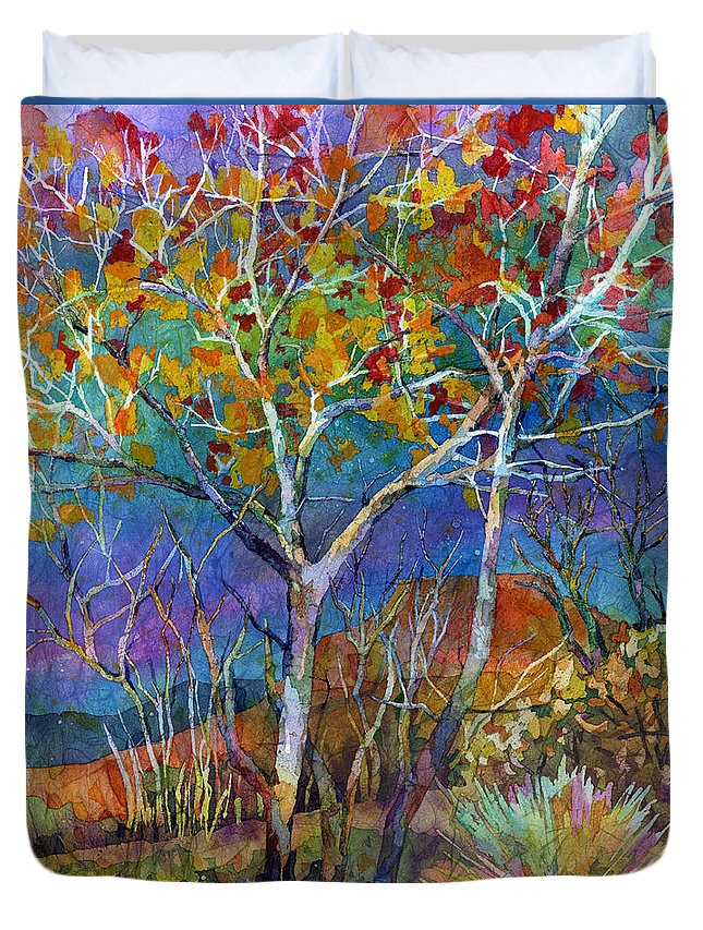 Trees Duvet Cover featuring the painting Beyond The Woods by Hailey E Herrera