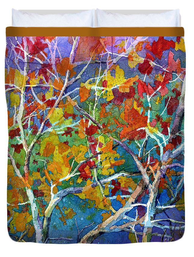 Trees Duvet Cover featuring the painting Beyond The Woods - Orange by Hailey E Herrera