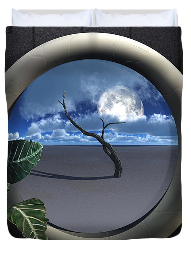 Walls Duvet Cover featuring the digital art Beyond Walls by Richard Rizzo