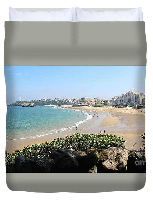 France Duvet Cover featuring the photograph Biarritz Beach Panorama by Carol Groenen