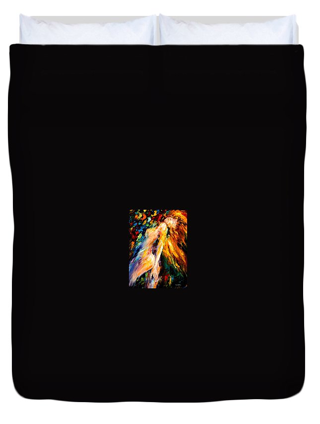 Afremov Duvet Cover featuring the painting Bias by Leonid Afremov