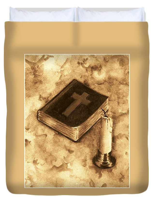 Bible Duvet Cover featuring the painting Bible And Candle by Michael Vigliotti