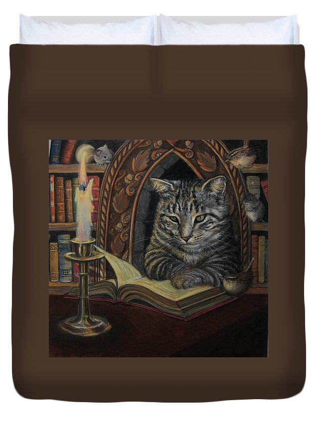 Cat Duvet Cover featuring the painting Bibliocat Reads To His Friends by Marguerite Anderson