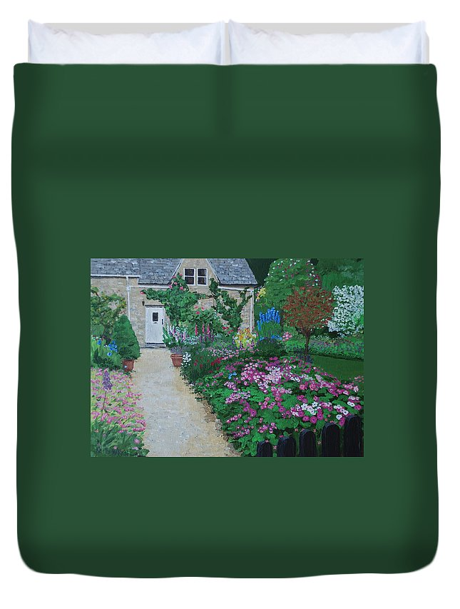 Gardens Duvet Cover featuring the painting Bibury Garden Path by Keith Wilkie