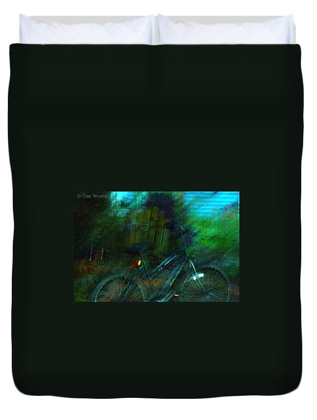Clay Duvet Cover featuring the photograph Bicycle by Clayton Bruster