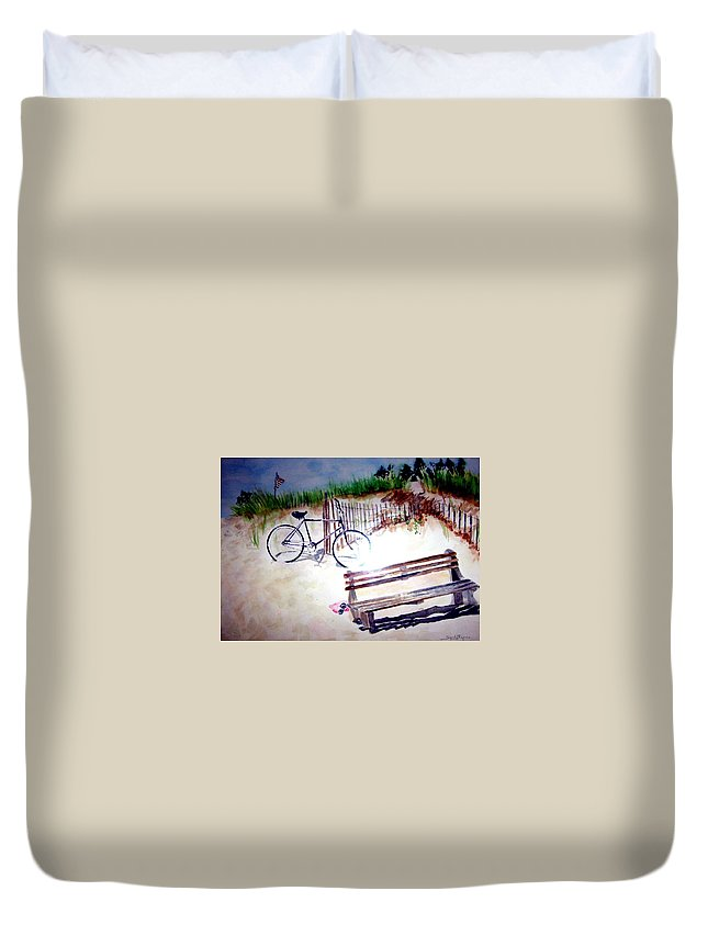Bicycle Duvet Cover featuring the painting Bicycle On The Beach by Sandy Ryan
