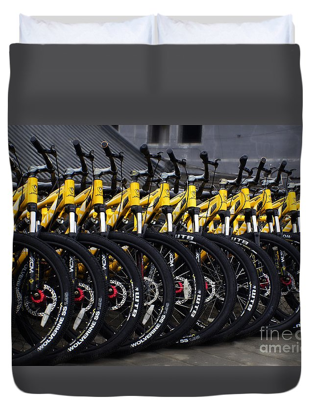 Bicycles Duvet Cover featuring the photograph Bicyles by Ben Yassa