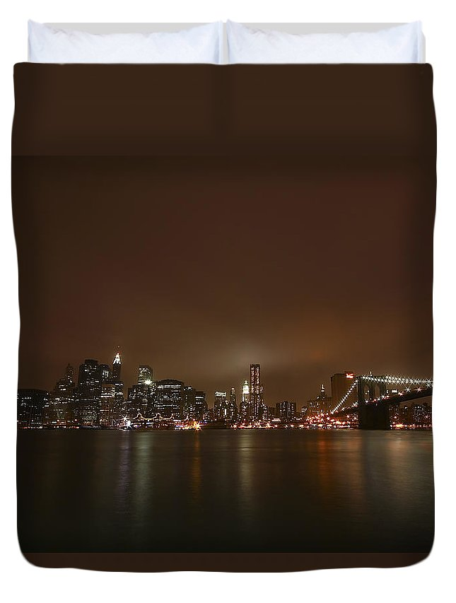 Bridge Duvet Cover featuring the photograph Big Apple Lights by Evelina Kremsdorf