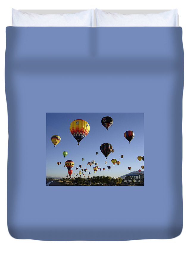 Flight Duvet Cover featuring the photograph Big Balloons by Mary Rogers