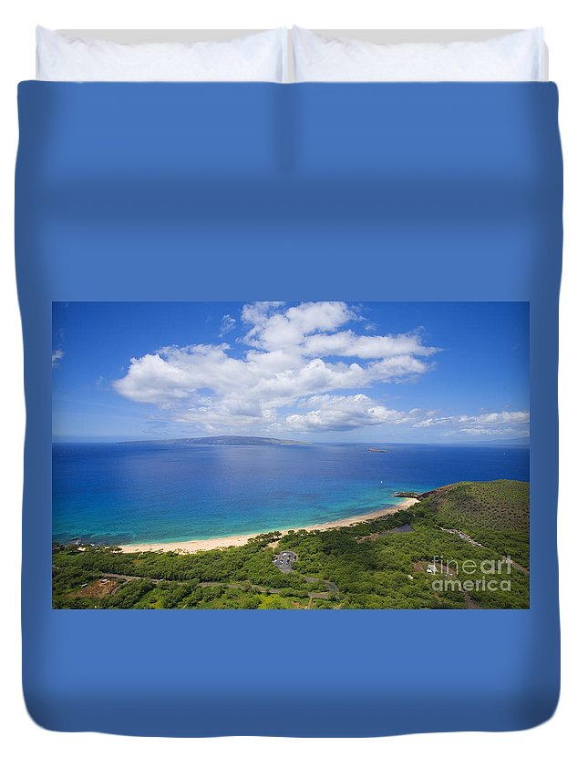 Above Duvet Cover featuring the photograph Big Beach Aerial by Ron Dahlquist - Printscapes