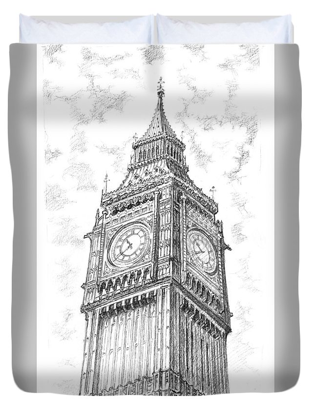 London Duvet Cover featuring the drawing Big Ben London by Vlado Ondo