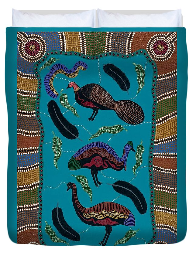 Acrylic Duvet Cover featuring the painting Big Birds Of Australia by Clifford Madsen