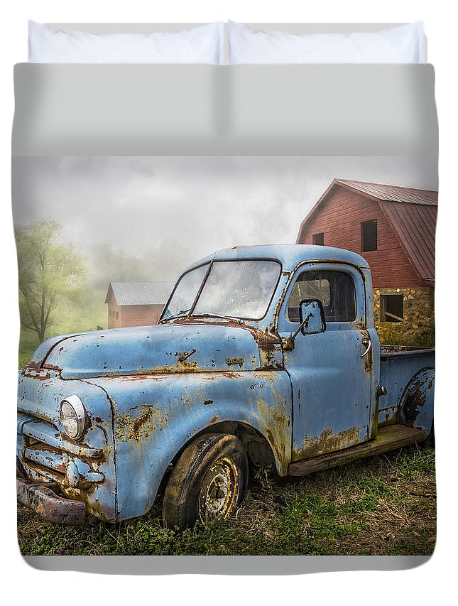 Appalachia Duvet Cover featuring the photograph Big Blue Dodge by Debra and Dave Vanderlaan