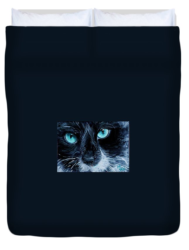 Charity Duvet Cover featuring the painting Big Blue by Mary-Lee Sanders