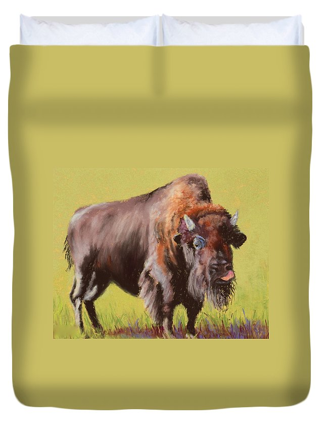 Buffalo Duvet Cover featuring the painting Big Boy by Nancy Jolley