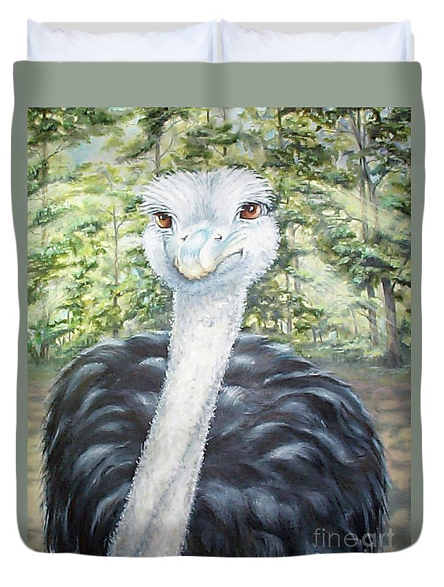 Fuqua Gallery-bev-artwork Duvet Cover featuring the painting Big Brown Eyes by Beverly Fuqua