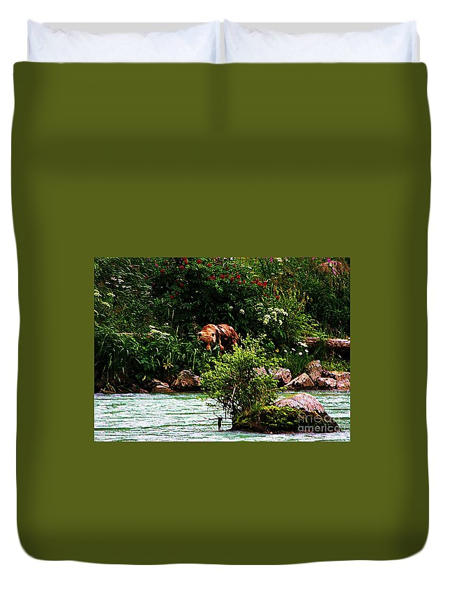 Bear Duvet Cover featuring the photograph Big Brownie by Donna Cain