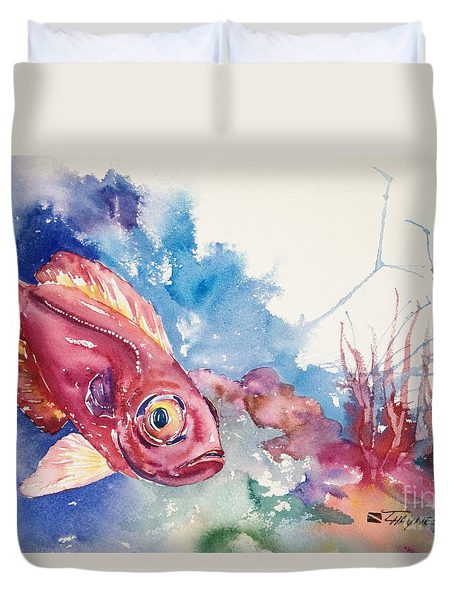 Animal Art Duvet Cover featuring the painting Big Eye Squirrelfish by Tanya L Haynes - Printscapes