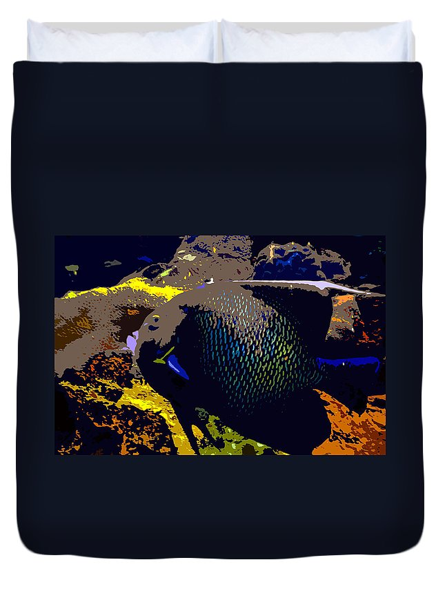 Fish Duvet Cover featuring the painting Big Fish by David Lee Thompson