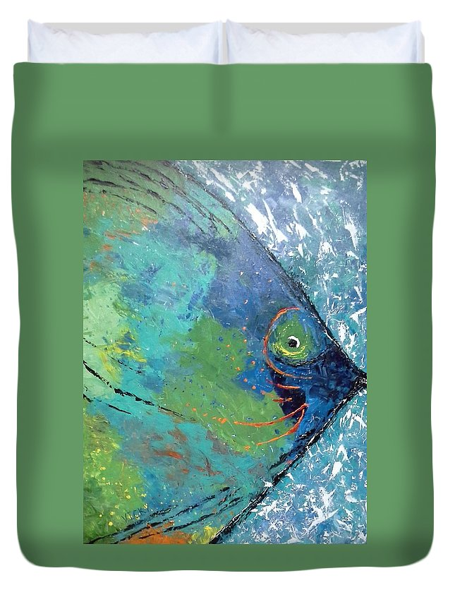 Ocean Duvet Cover featuring the painting Big Fish by Vicky King