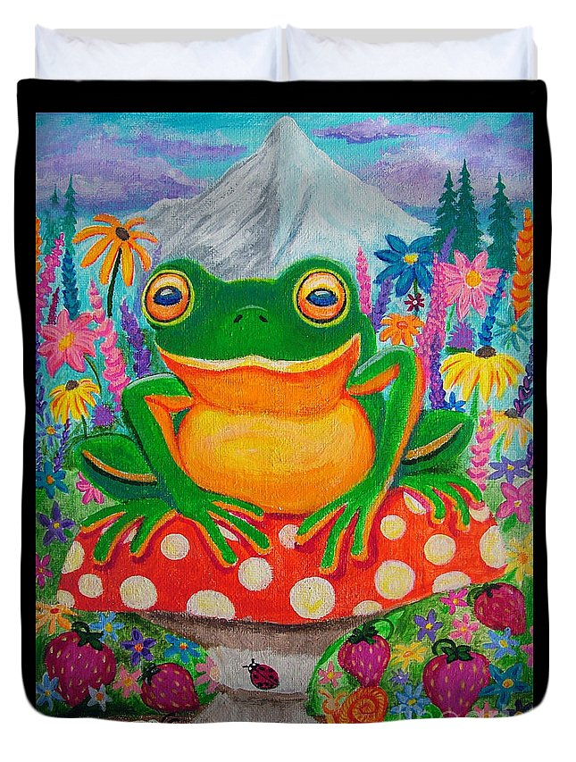 Frog Duvet Cover featuring the painting Big Green Frog On Red Mushroom by Nick Gustafson