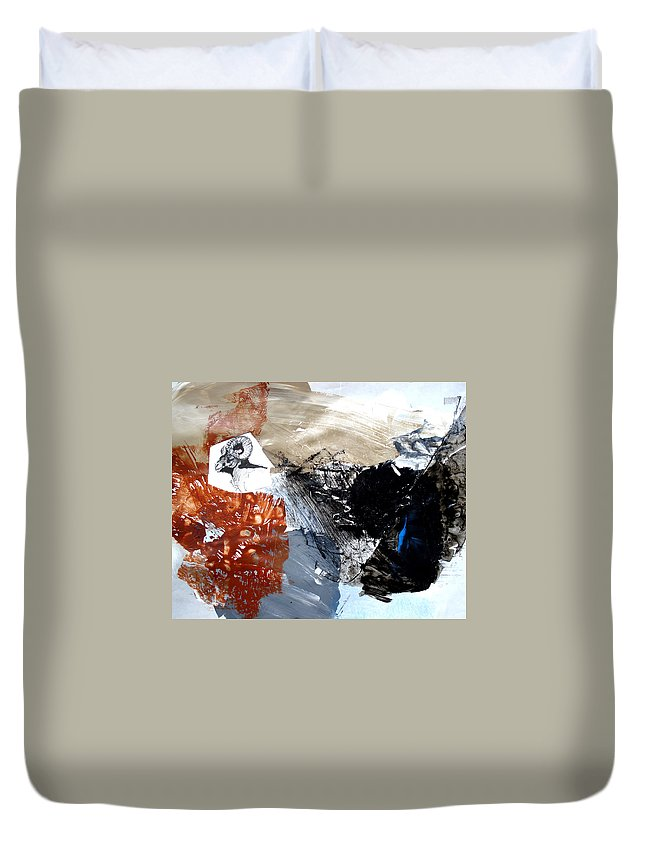 Wildlife Abstract Duvet Cover featuring the painting Big Horn At Home by Paul Miller
