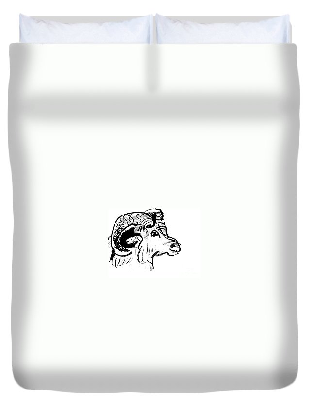 Big Horn Sheep Duvet Cover featuring the drawing Big Horn Sheep Sketch by Paul Miller