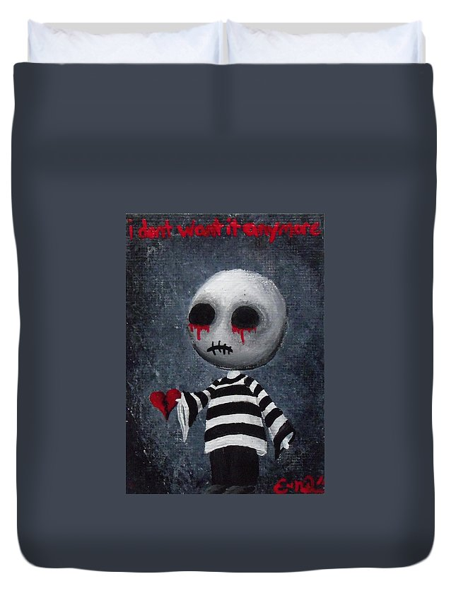 Lowbrow Art Duvet Cover featuring the painting Big Juicy Tears Of Blood And Pain 1 by Oddball Art Co by Lizzy Love