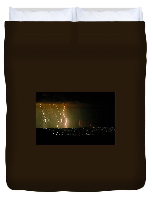Storm Duvet Cover featuring the photograph Big Lightning by Jerry McElroy