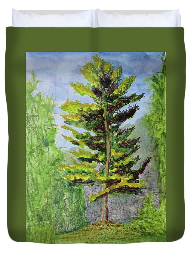 Adirondacks Duvet Cover featuring the painting Big Pine by Bethany Lee