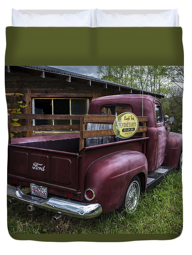 1950 Duvet Cover featuring the photograph Big Red Ford Truck by Debra and Dave Vanderlaan