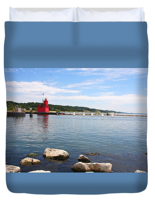 Holland Duvet Cover featuring the photograph Big Red Light On The Lake by IMH Photog
