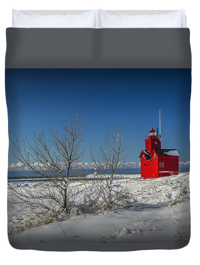 Art Duvet Cover featuring the photograph Big Red Lighthouse In Winter by Randall Nyhof