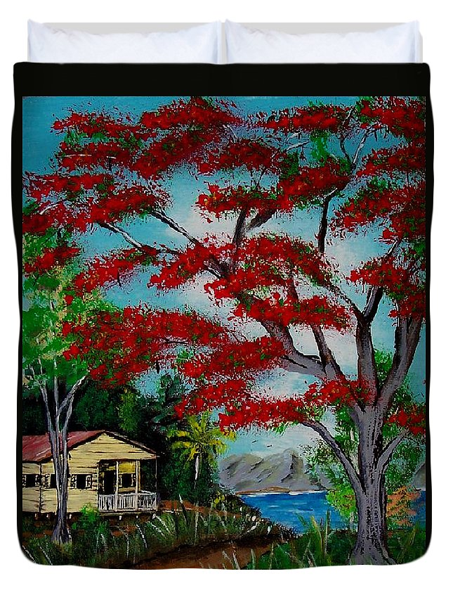 Flamboyant Tree Duvet Cover featuring the painting Big Red by Luis F Rodriguez