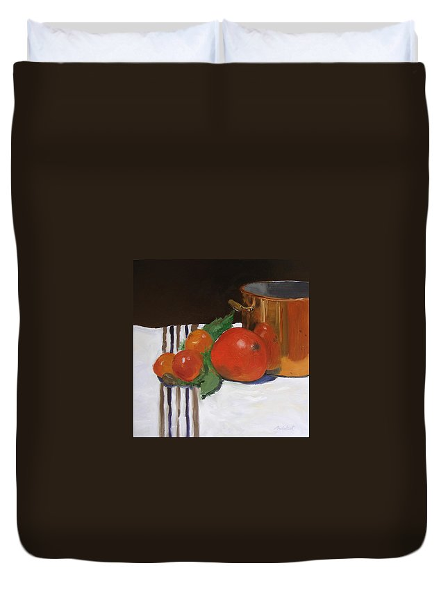 Still Life Duvet Cover featuring the painting Big Red Tomato by Barbara Andolsek