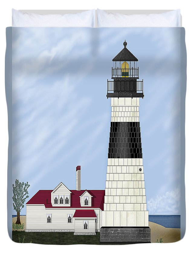 Big Sable Michigan Lighthouse Duvet Cover featuring the painting Big Sable Michigan by Anne Norskog