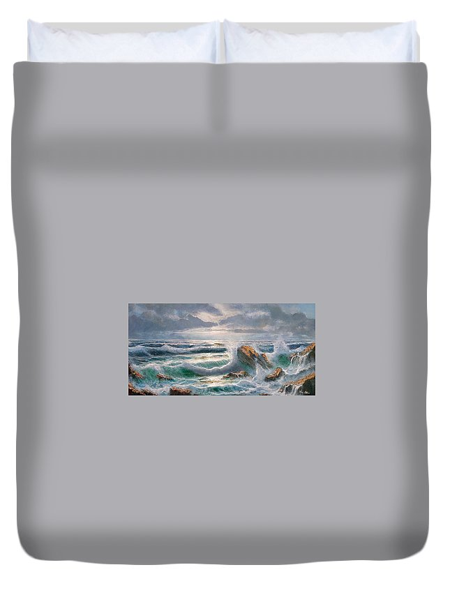 Painting Duvet Cover featuring the painting Big Seastorm - Italy by Remo Aldini